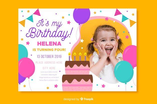 Download Children S Birthday Invitation Template With Photo For Free Birthday Invitation Templates Birthday Invitations Birthday Template