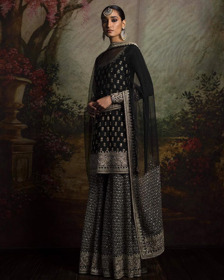 D2. Black and silver sharara Black