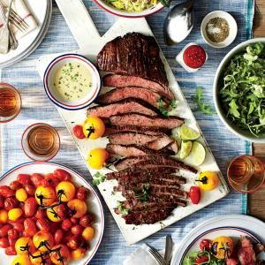 Seared Flank Steak with Lime-Wasabi Sauce  - use leftovers for chopped salad with steak and southern cheese steak sandwiches