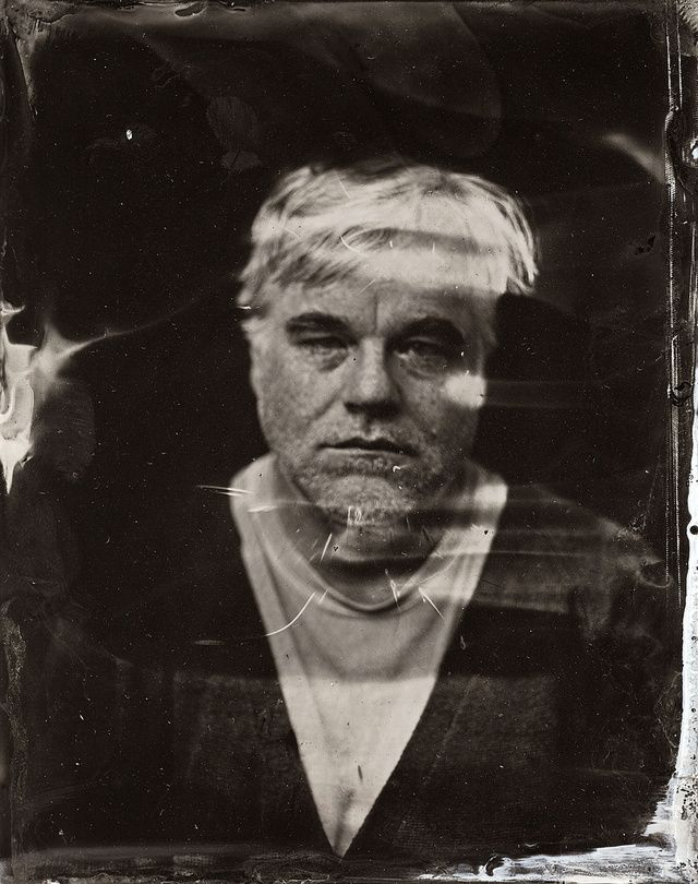 This haunting tintype photo is probably the last studio portrait of Philip Seymour Hoffman. It was taken on January 19, 2014 at 08:59:11 PM, at The Collective and Gibson Lounge, during the 2014 Sundance Film Festival in Park City, Utah.