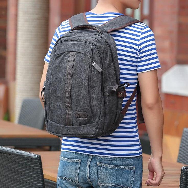 Men Canvas Backpack Shoulder Bag Zipper Casual School Bag Sales Online black - Tomtop.com