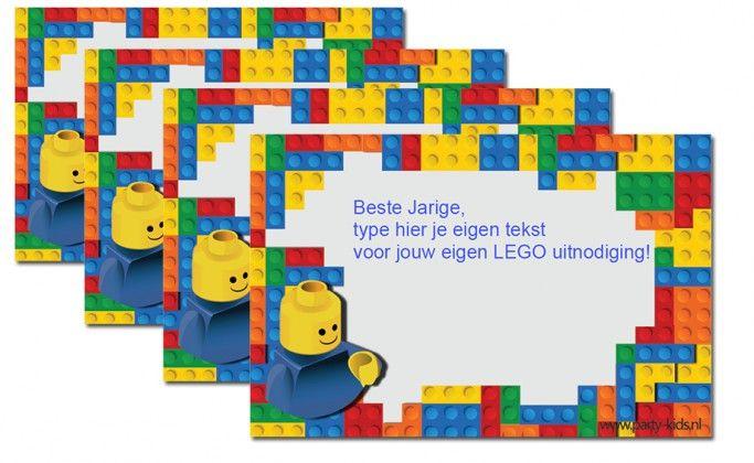 Maak je eigen Lego uitnodiging en zet jouw tekst in de werktekening. Print en knip uit en versturen of uitdelen maar