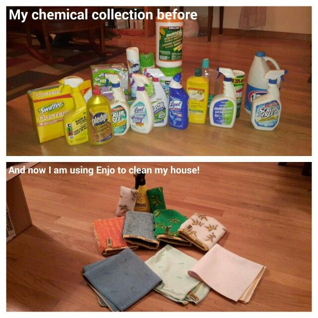 My chemical life before I was using ENJO! ENJO and water -and my house is clean!