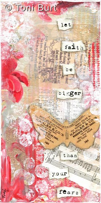 let faith be bigger than your fears - mixed media art featuring old vintage ephemera and papers, sheet music, acrylic paint, typeface. vintage butterfly.