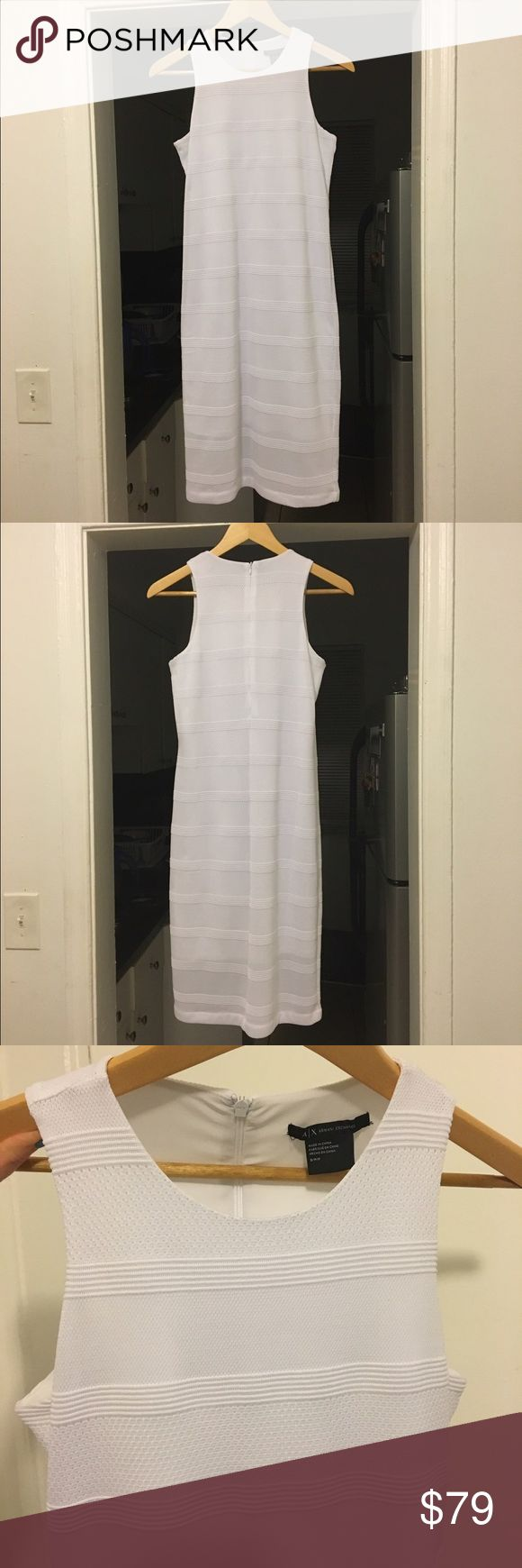 "NWOT White Armani Exchange sleeveless midi dress Brand: Armani Exchange. Style: textured midi bodycon sleeveless dress. Color: white. Size: S as per tag, but it is very stretchy material and it runs large, so will fit M/L size better. Measurements: lengths 40"", from armpit to armpit 16"", will fit up to 38-40 DDD. Zipper at the back all along spine line. Condition: NWOT. 🚫no trades, price is firm🚫 Armani Exchange Dresses Midi"
