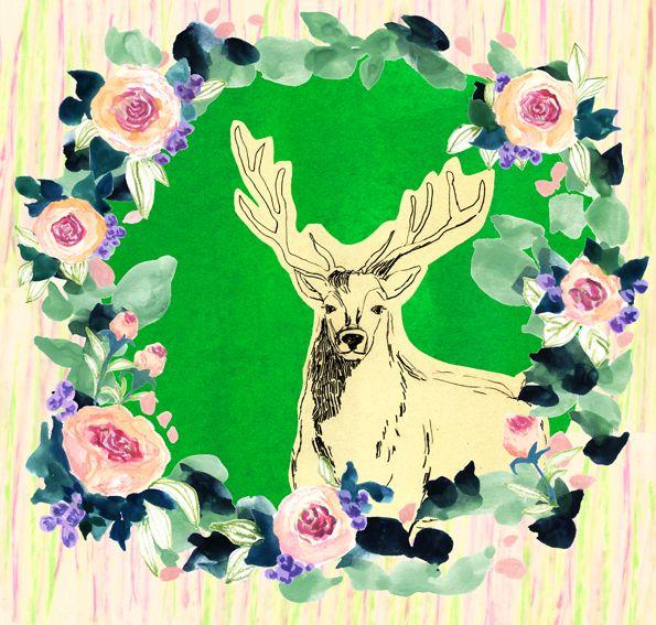 #広告 #花 #flower #デザイン #お洒落 #可愛い  #illustration #kanakobayashi #art #illust #パッケージ #pattern #柄 #模様  #frame #枠 #deer #鹿 #線画