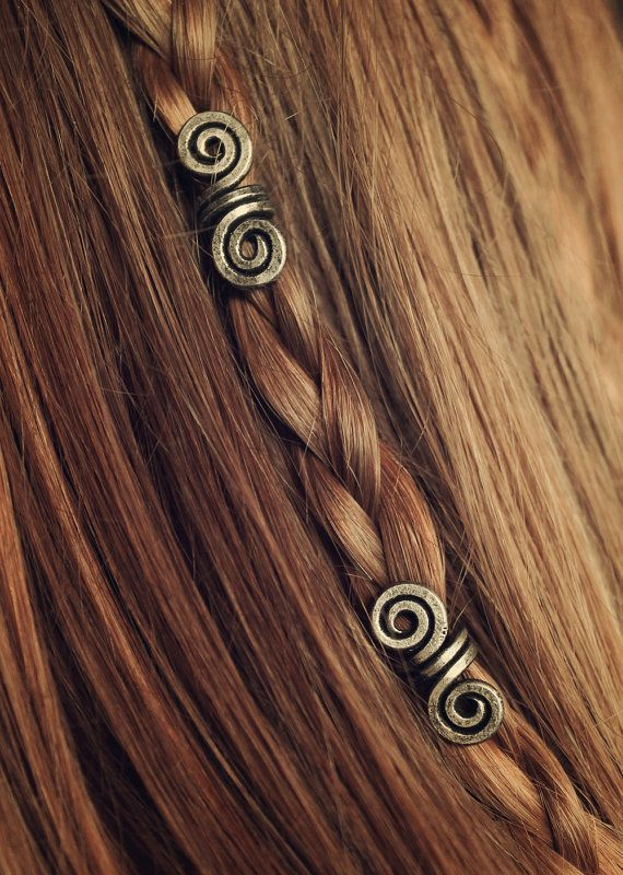 Silver Aged Pair of Viking hair beads Hair beads by LoitsuCrafts
