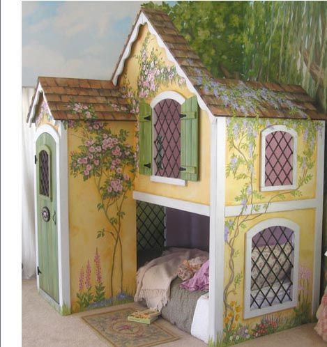 adorable decorative painted indoor cottage