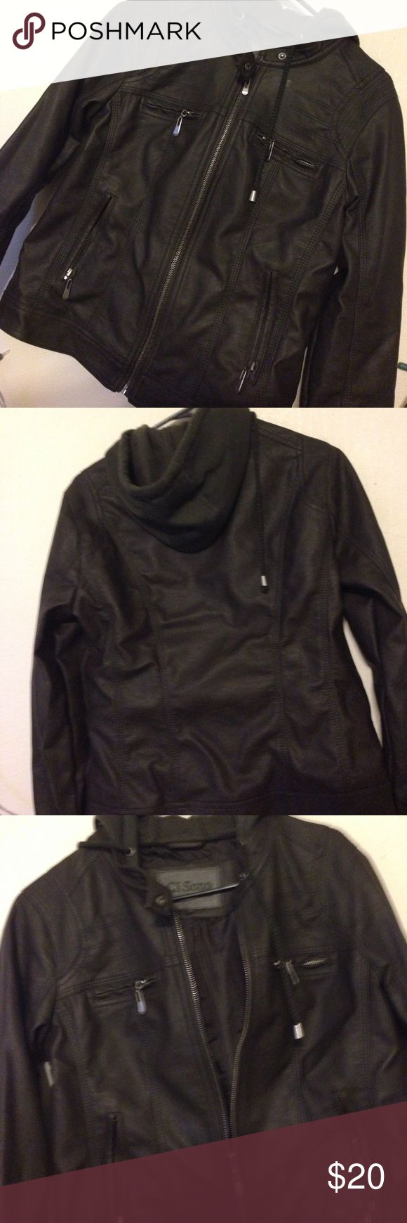 Beautiful Faux Leather Jacket Brown Faux leather jacket with a green hood, NWOT never worn. beautiful just never got around to wearing it. Size medium, fits like a small Jackets & Coats
