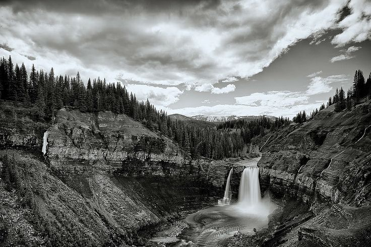 Ram River Falls with Spring Flow BW