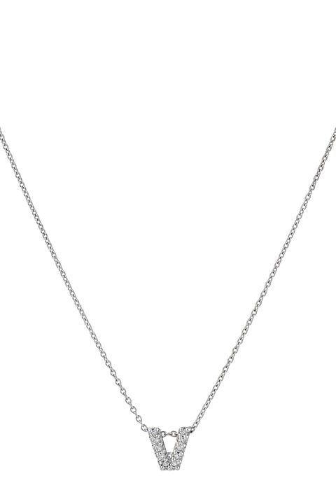Roberto Coin Roberto Coin Diamond Initial Necklace (White Gold-V) Necklace - Roberto Coin, Roberto Coin Diamond Initial Necklace, 001634AWCHXV, Jewelry Necklace General, Necklace, Necklace, Jewelry, Gift, - Street Fashion And Style Ideas