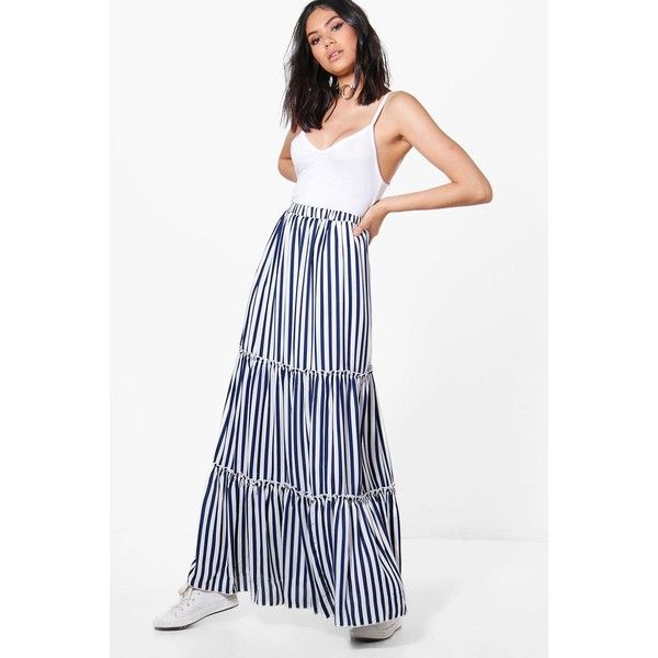 Boohoo Rayah Striped Ruffle Layered Woven Maxi Skirt ($40) ❤ liked on Polyvore featuring skirts, long striped maxi skirts, long pleated skirt, long maxi skirts, pleated mini skirt and white mini skirt