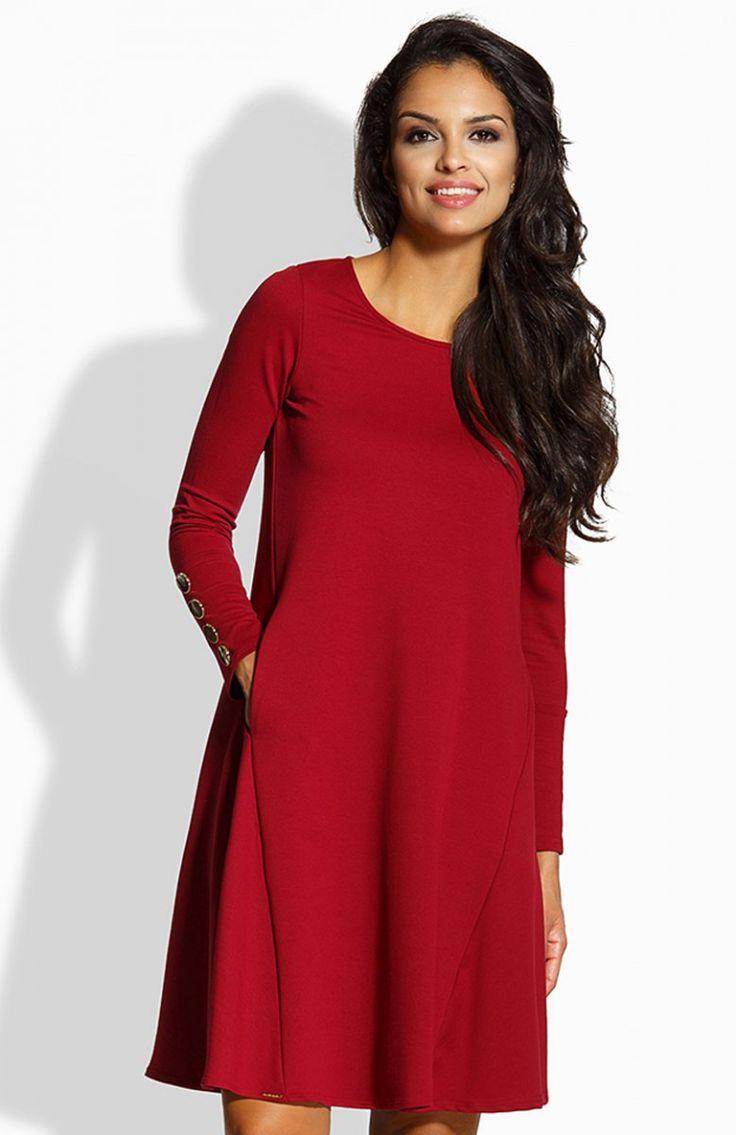Lemoniade L217 sukienka bordowa Komfortowa sukienka, rozkloszowany fason doskonale będzie wyglądał na każdej figurze, po bokach kieszenie