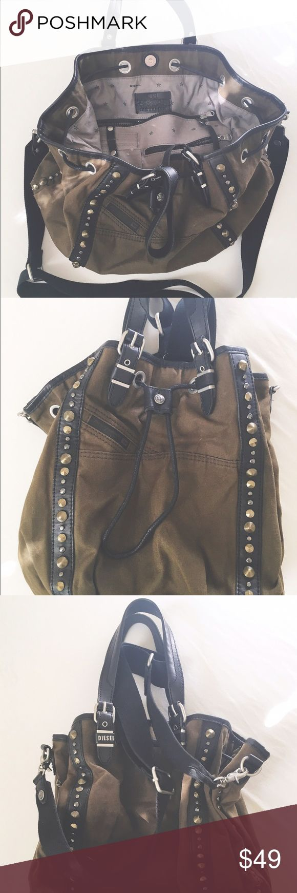 Great Diesel bag dark green in perfect condition Great bag material with leather stripes Diesel Bags Shoulder Bags