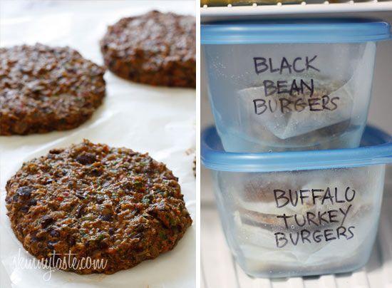 Spicy Black Bean Burgers with Chipotle Mayonnaise | Skinnytaste: Dinner, Black Bean Burgers, Black Beans, Burgers Freezer, Spicy Black, Chipotle Mayonnaise, Egg, Skinnytaste