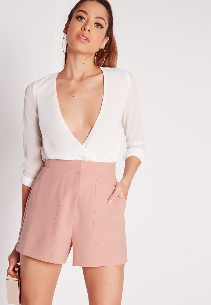 Missguided - Front Pocket Tailored Shorts Pink