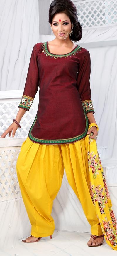 $58.38 Maroon 3/4 Sleeve Cotton Short Punjabi Salwar Kameez 18713