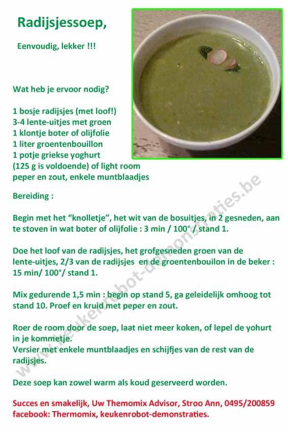 Radijsjes soep, recept met thermomix