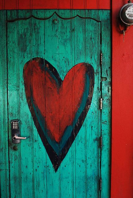 Turquoise Door with Red Heart in Nayarit, México  ~  Love the door, but the keypad lock looks out of place.