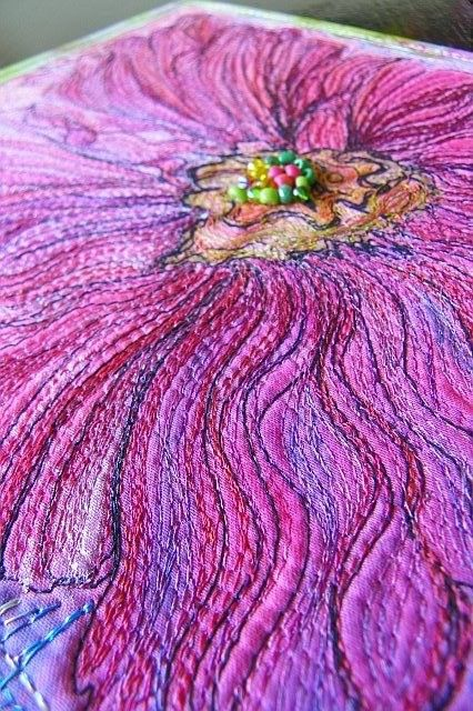 MarveLes HOLLYHOCK in PINK Beaded Thread Sketched Flower Miniature Quilt