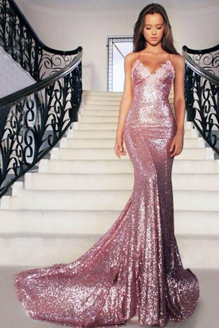 bfe78110eaf Luxurious Mermaid Floor Length Sleeveless V Neck Sequin Sequin Prom Dresses