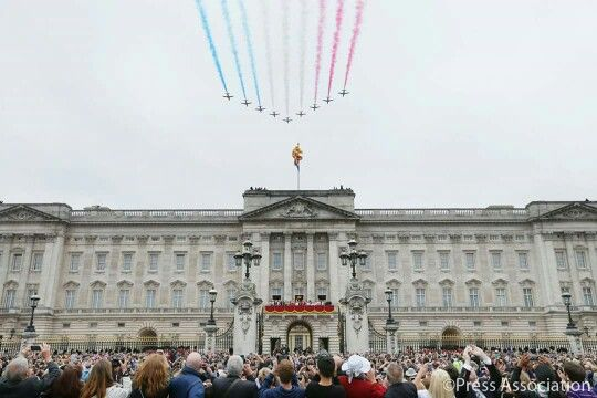 The Red Arrows flypast Buckingham Palace for the Trooping of the Colour,  2015.