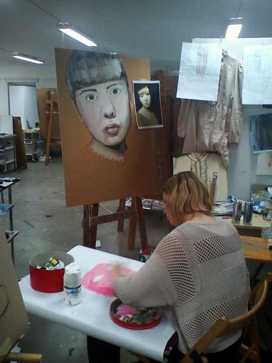 Portrait in progress, Cecilia makes a pink self portrait