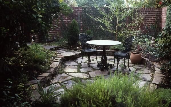 Table setting; stone garden bed retaining walls