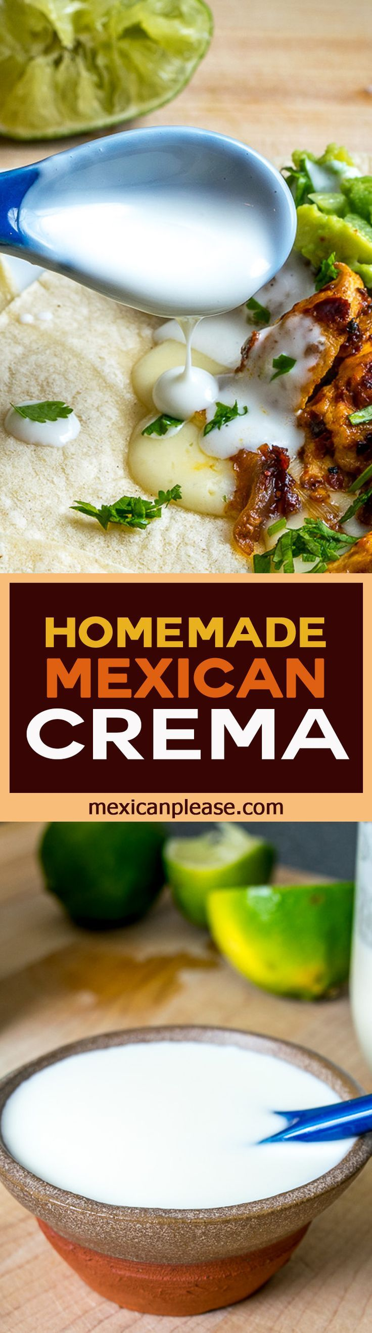 O' Mexican Crema where art thou?  If you're tired of searching for Mexican Crema in the markets here's the easiest way to make your own at home (also includes some quick and dirty substitutes) http://mexicanplease.com