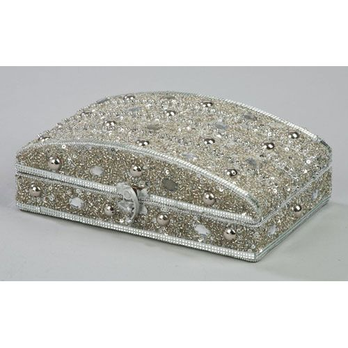 Jewelry Box | Silver Beaded Jewelry Box in Jewelry Boxes and Organizers