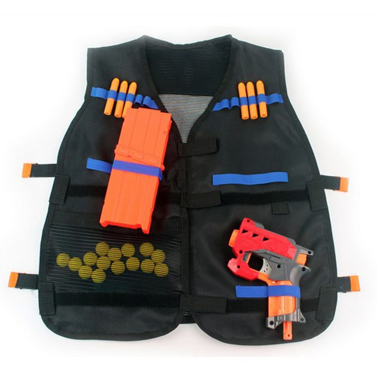 New Adjustable Hunting Tactical Vest with Storage Pockets for Outdoor Nerf N-Strike Elite Game Team Military Black