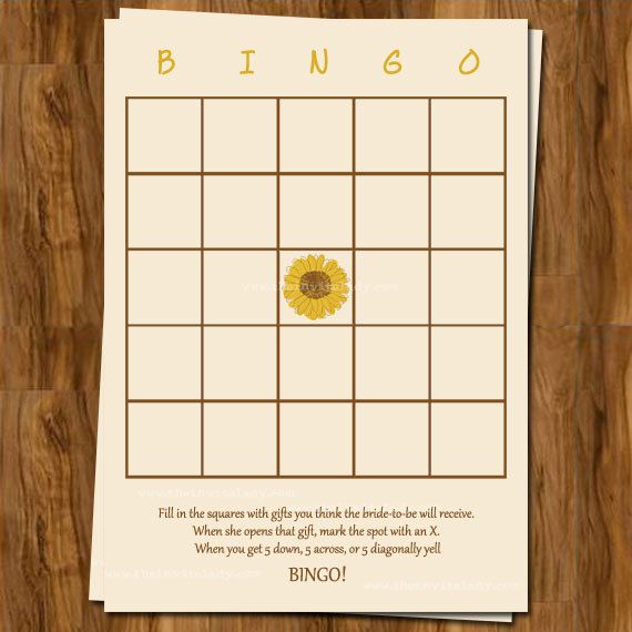 Sunflower Bridal Shower Bingo, Wedding Shower Games, Set of 25 Printed Cards, Free Shipping. $15.00, via Etsy.