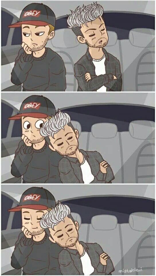 Fan art is so good! Look at Liam tho, Zayns just casually snoozing on Liams shoulder like it should be.