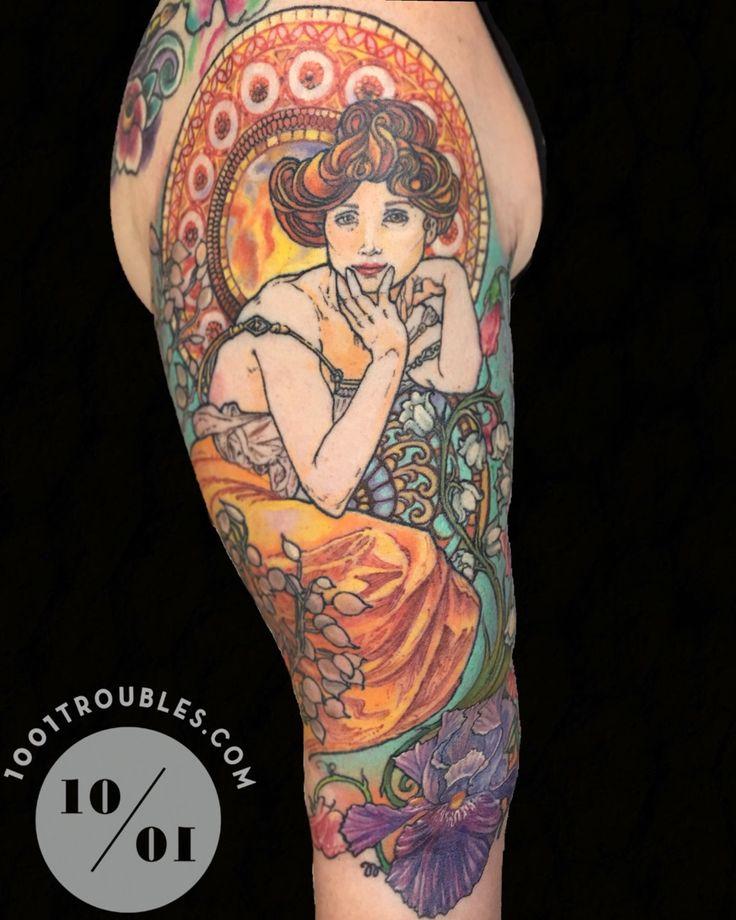 Alphonse Mucha half sleeve by Michelle Carter at 1001 Troubles Tattoo in Warren, Rhode Island