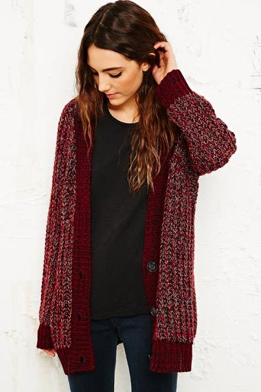 BDG Chunky Fisherman Cardigan in Burgundy at Urban Outfitters