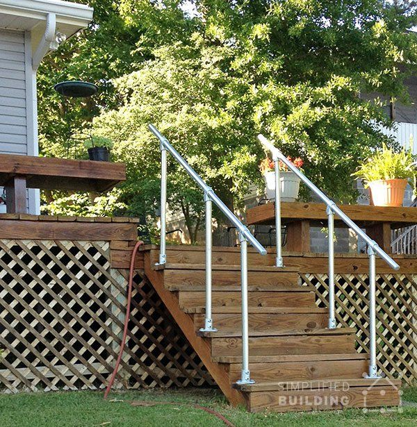 Simple sturdy exterior stair railing keeklamp handrail for Easy stairs diy