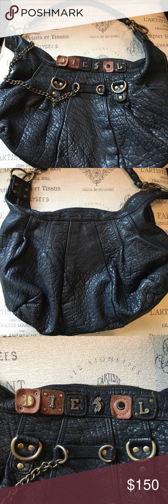 Diesel Purse Authentic Diesel purse with unique detailing on front side. Good condition with some small scuffs (pictured). This bag is very spacious! Diesel Bags Shoulder Bags