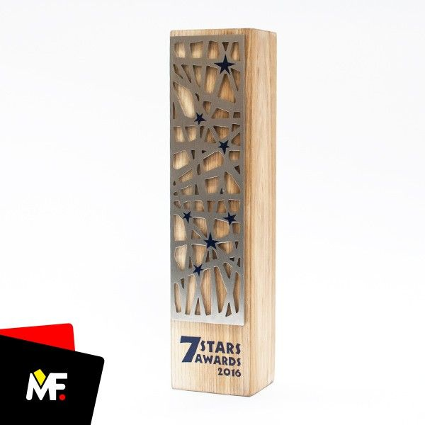 Elegant trophy made of wood with original metal plate.