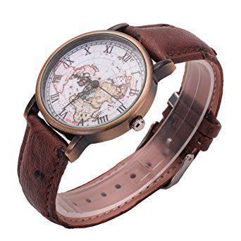 Coxeer® Retro World Map Ladies Watch in numeri romani del bronzo di quarzo vestito alloggiamento analogico orologi cinturino in pelle: Amazon.it: Orologi