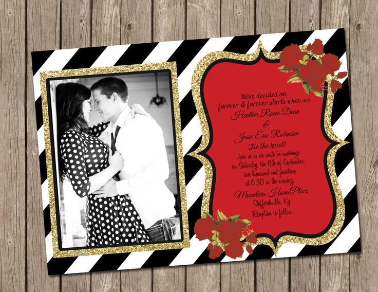 Classic Vintage Wedding Bridal Shower Invitation With Black And White Stripes And Gold Glitter
