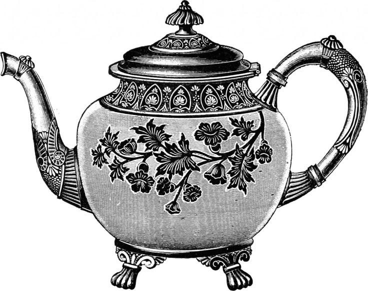 Free Clip Art Images - Vintage Teapot & Service Set