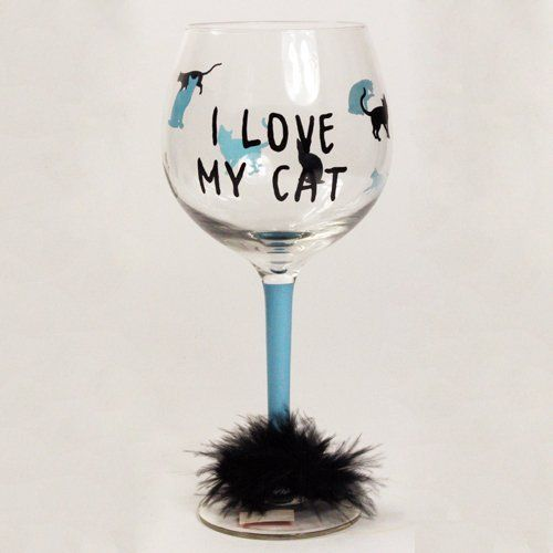 """I Love My Cat Wine Glass by TMD. $9.99. Fur on the bottom. """" I Love My Cat """". I Love My Cat Wine Glass. Save 33%!"""