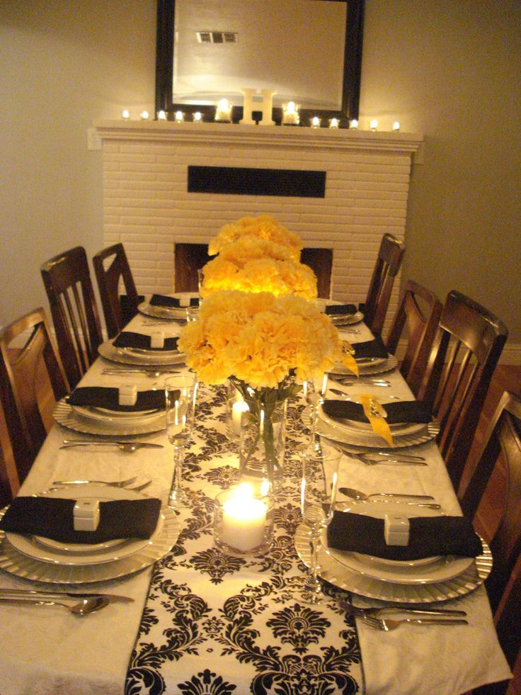 Black White And Yellow Anniversary Party