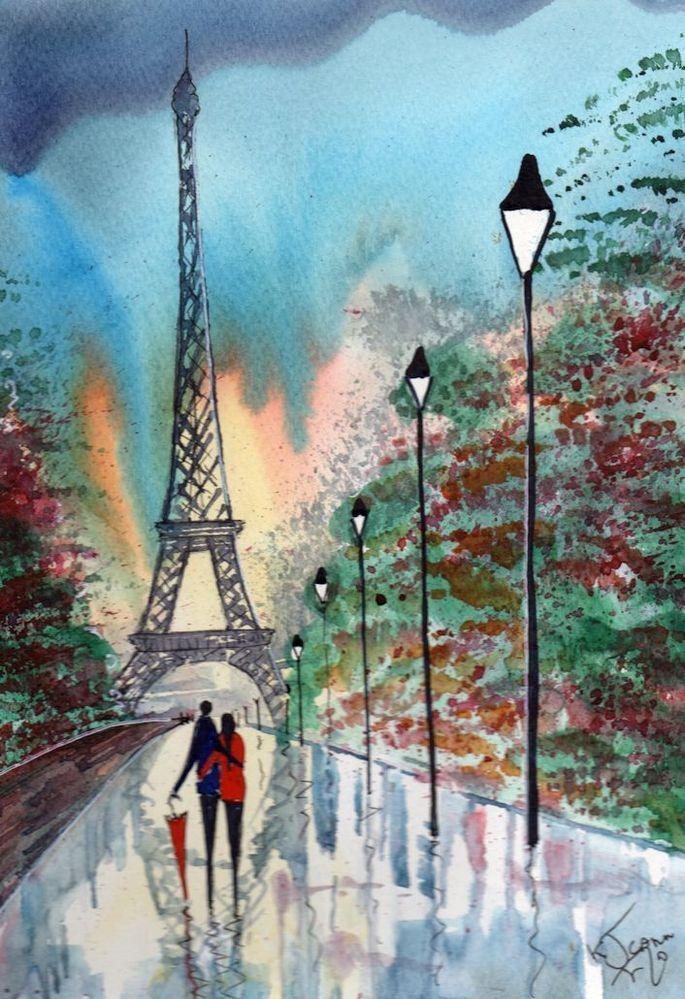 Original Signed Watercolour Painting ~ Paris, After The Rain ~ By KJ CARR