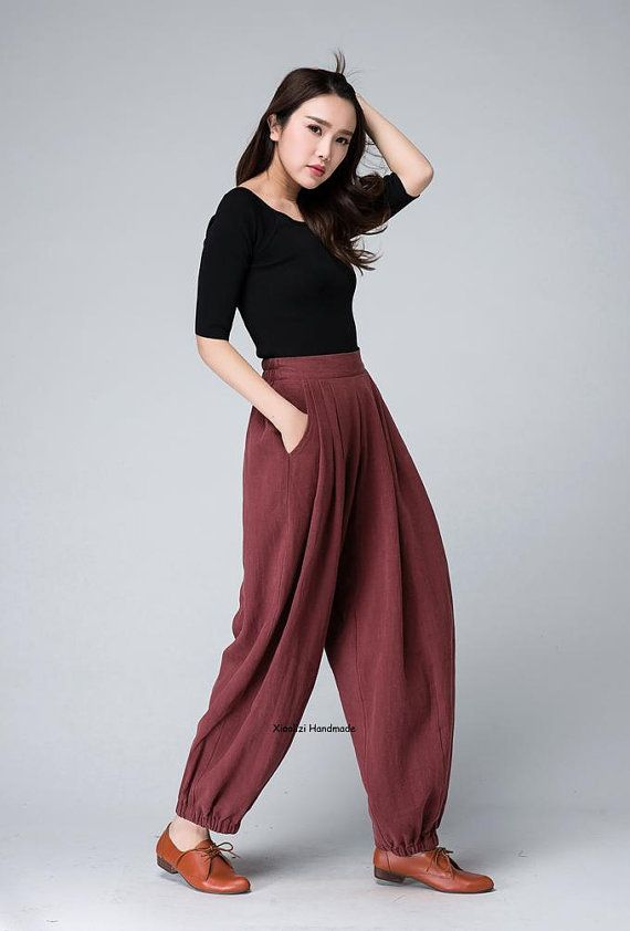 Pleated trousers, Red Linen Pants ,Women Trousers ,Lovely Pants ,Casual Pants, Linen Pants 1504