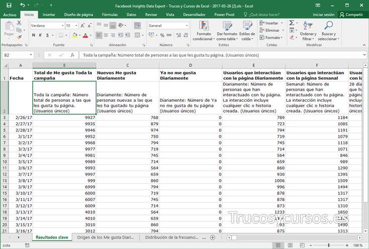 Obtener las estadísticas de Facebook en un libro Excel