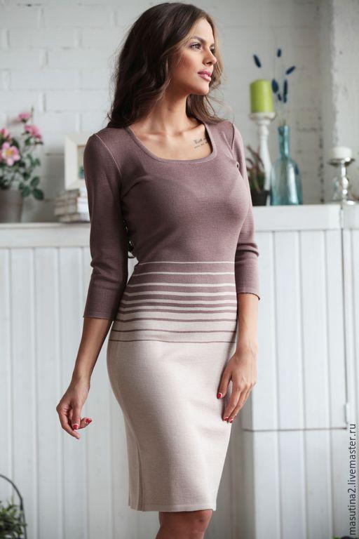 """Купить Платье """"Шоколадное парфе"""" - кремовый, вязаное платье, платье на заказ, платье на каждый день"""