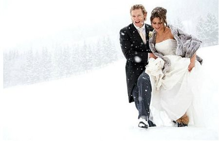 Snowy wedding. Great ideas to use a different colored fur wrap and white umbrella!
