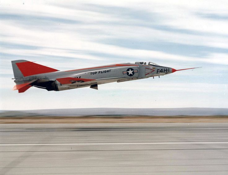 McDonnell YF4H-1 Phantom II, Bu. No. 142260, takes off at Edwards Air Force Base, during Project Top Flight. (U.S. Navy)