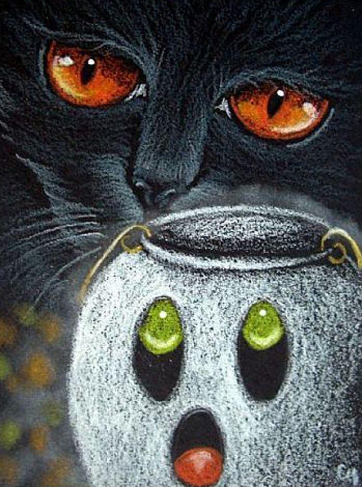 "Cat Art...=^.^=...❤... ""Black Cat - Halloween"" By Artist Cyra R. Cancel..."